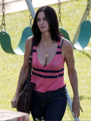 actress Courteney Cox hot cleavage outfit pic 4