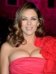 Elizabeth Hurley Boobs Bulging out in red dress