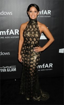 braless Rocsi Diaz hot glamour dress at amfAR Gala photo 1