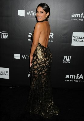 braless Rocsi Diaz hot glamour dress at amfAR Gala photo 2