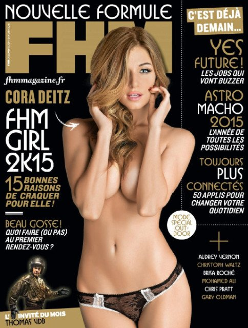 FHM France cover girl Cora Deitz topless