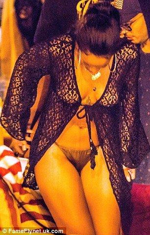 braless Rihanna sexy bikini bottom
