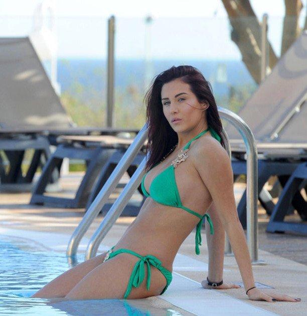 pretty celebrity Chloe Goodman at the pool