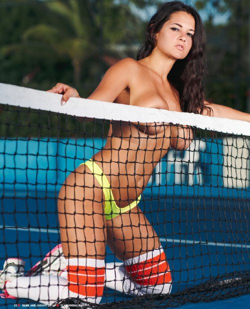 Pashence Marie topless in tennis court