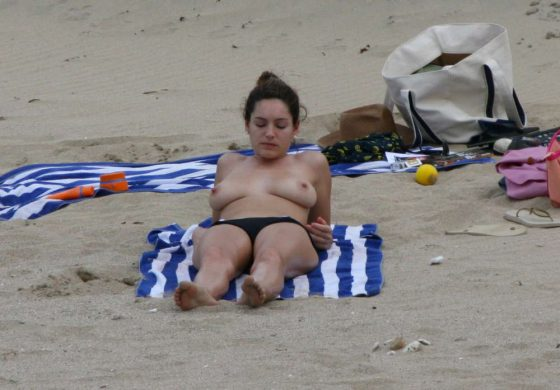 Kelly Brook topless on the beach photo 1