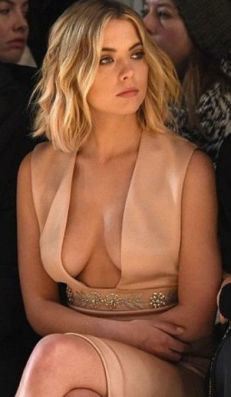 Ashley Benson big cleavage in fashion show in NY
