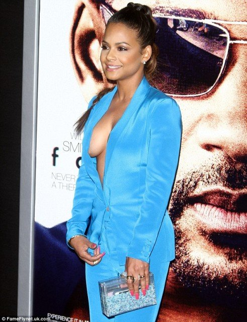 Christina Milian sideboob in blue dress