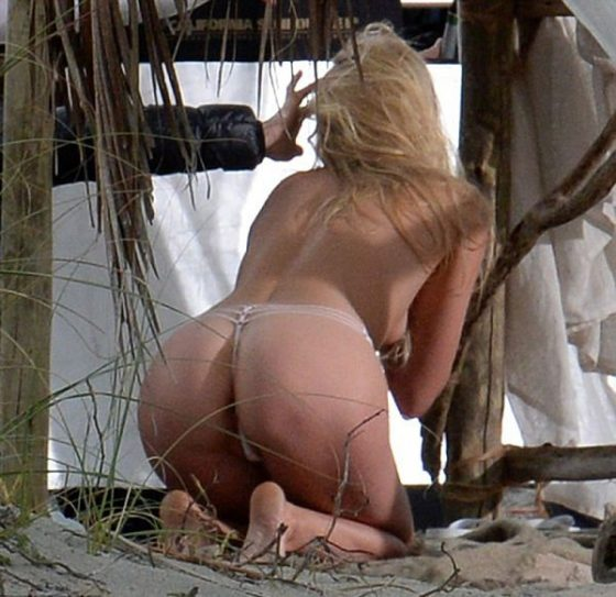 Elsa Hosk ass in string Topless shoot