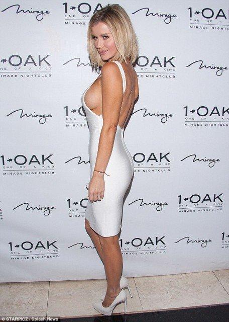 Joanna-Krupa braless sexy white dress at night club photo 5