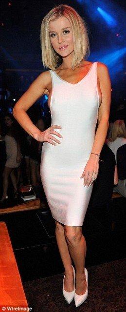 Joanna-Krupa braless sexy white dress at night club photo 6