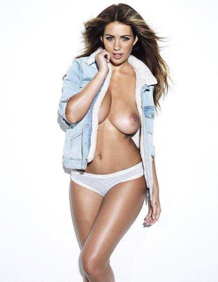 Holly Peers braless wearing jean jacket