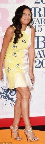 Sarah-Jane-Crawford legs in mini dress on red carpet