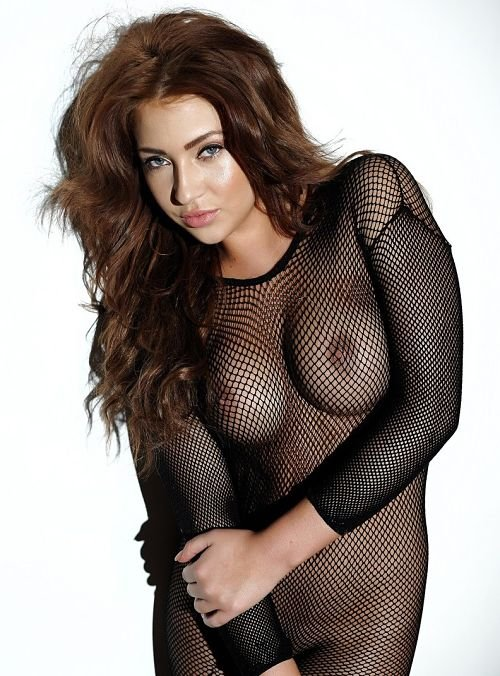 sexy-fishnet-reveals boobs-photo 1