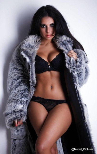 Charlotte Springer in fur coat & lingerie