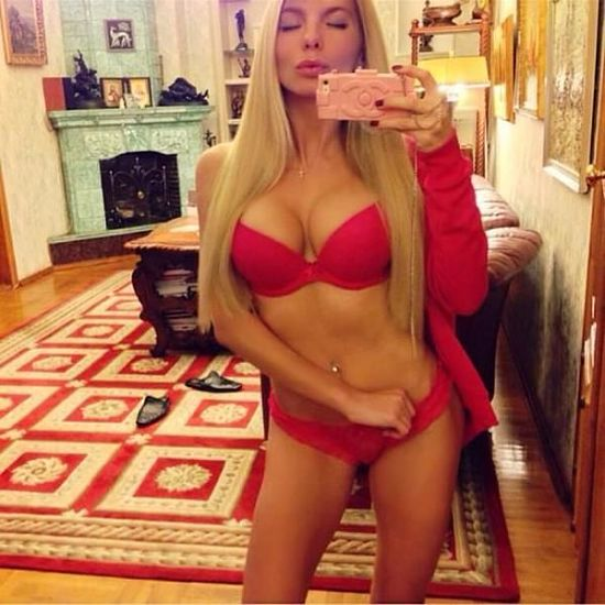 Alena Politukha red lingerie selfie