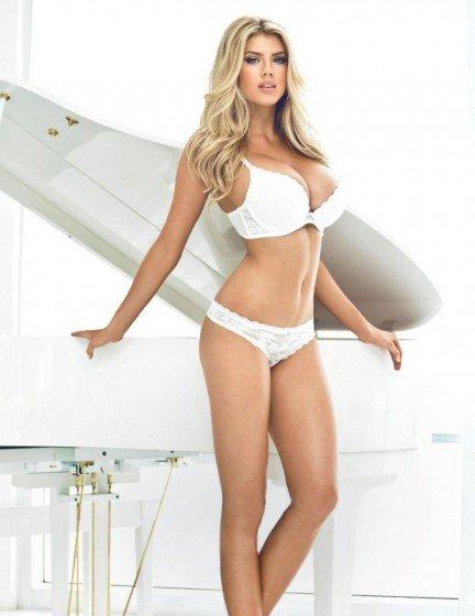hot celebrity Charlotte McKinney white lingerie