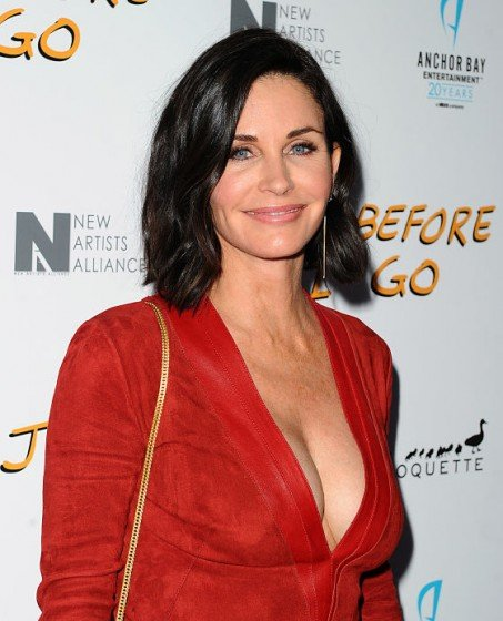 Courteney Cox braless in sexy plunging dress