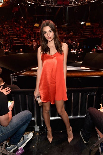 Emily Ratajkowski wjth hot orange dress in boxing event