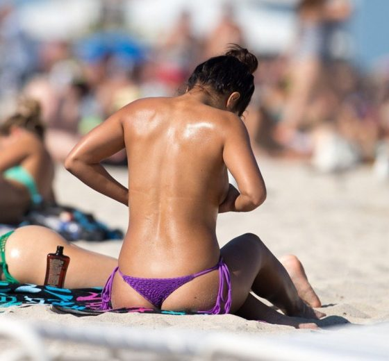 Erika Medina Topless Purple Bikin