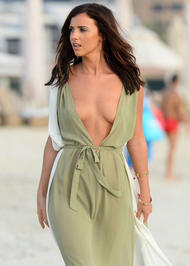 Lucy Mecklenburgh braless in plunging kaftan