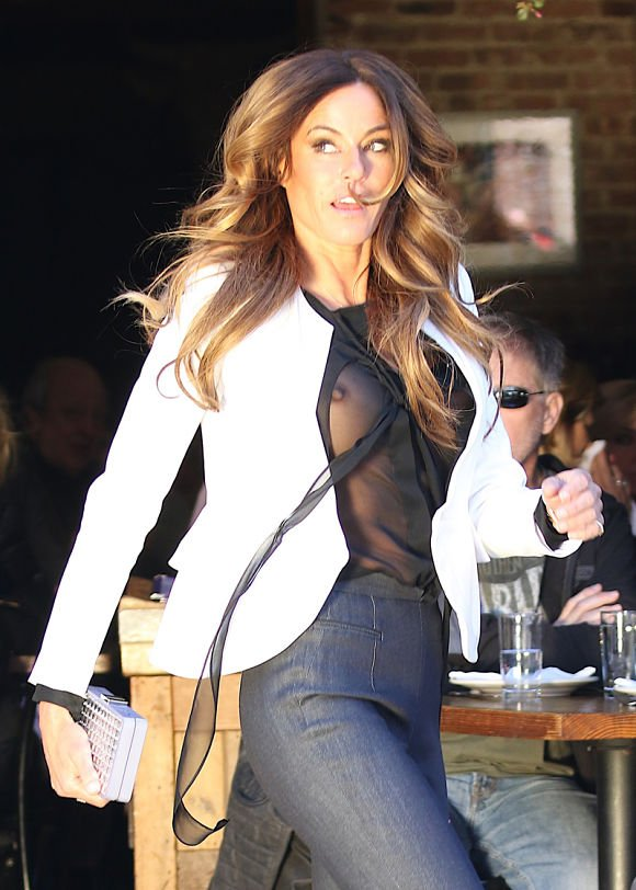 Kelly Bensimon nipple show in see-through