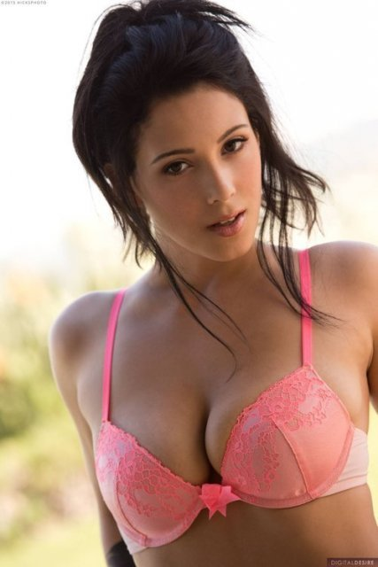 Noelle Easton pink bra pose