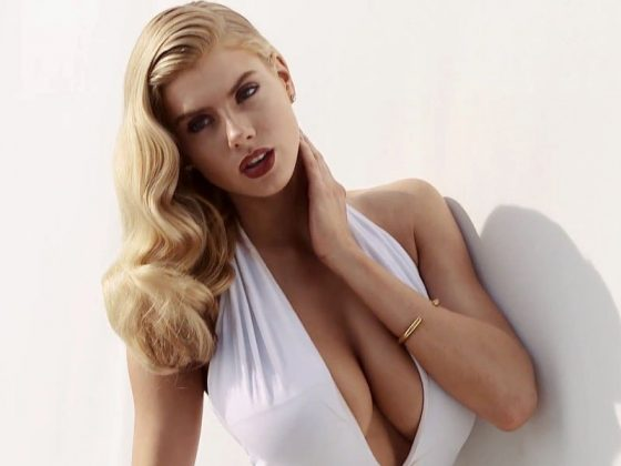 Charlotte McKinney boobs cleavage in plunging swimsuit