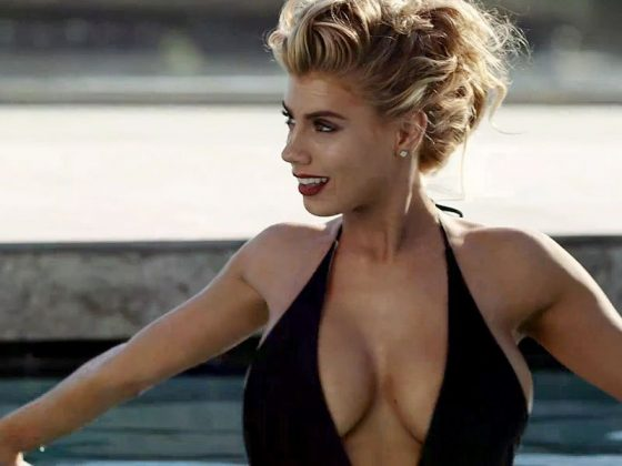 Charlotte McKinney big tits in plunging swimsuit