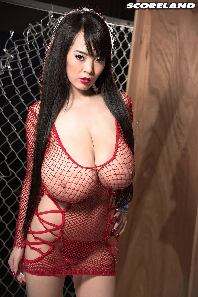 Hitomi Tanaka Busty Babe in Red Fishnet
