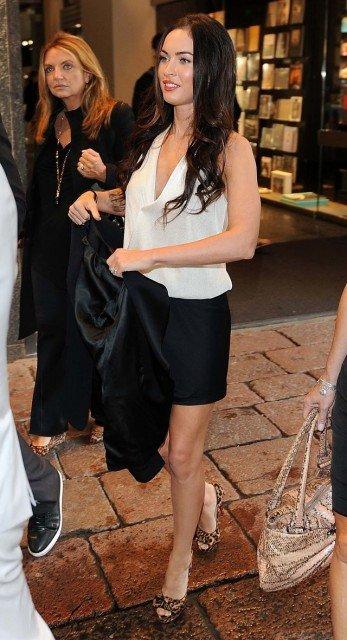 Megan Fox black skirt white top
