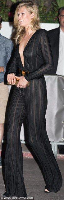 Braless Toni Garn see-through dress at Cannes