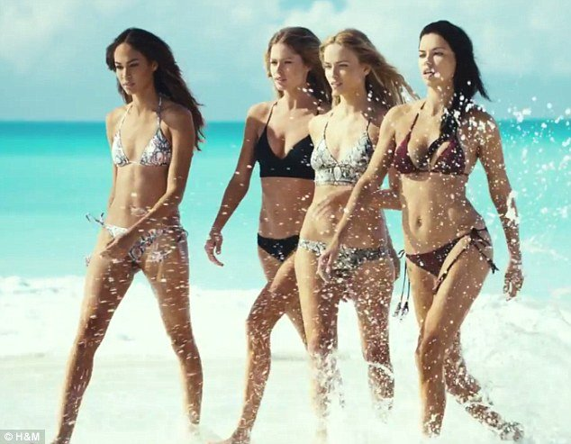 Adriana Lima with bikini in H&M video shot