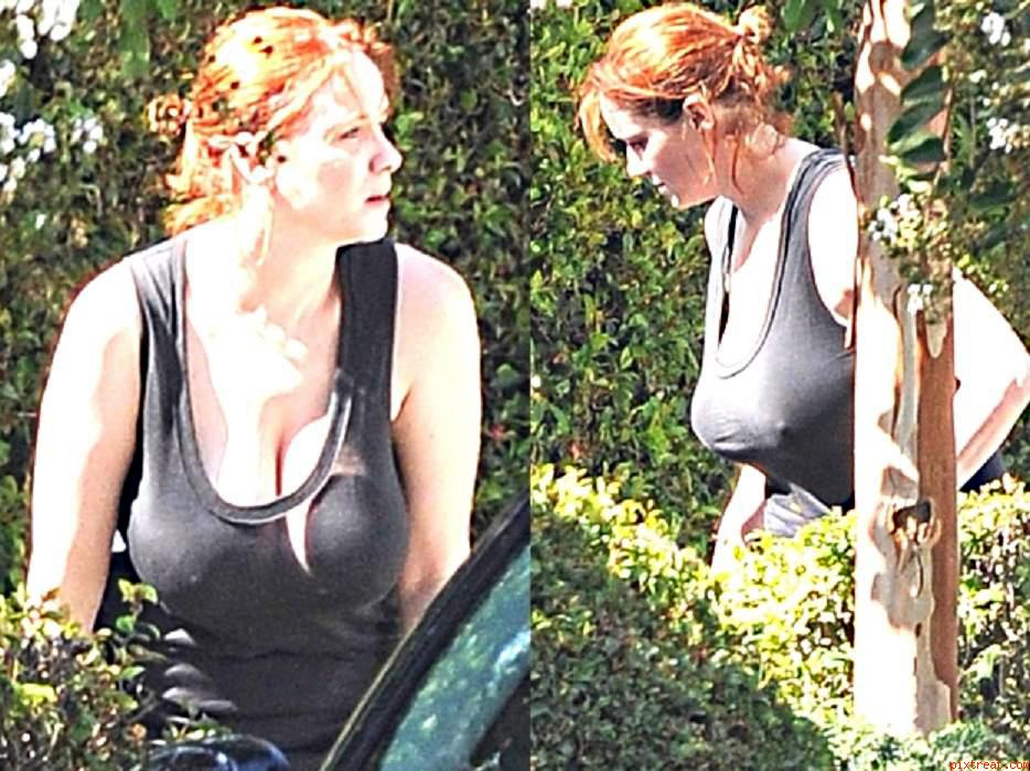 Busty actress Christina Hendricks in a braless see-through t-shirt