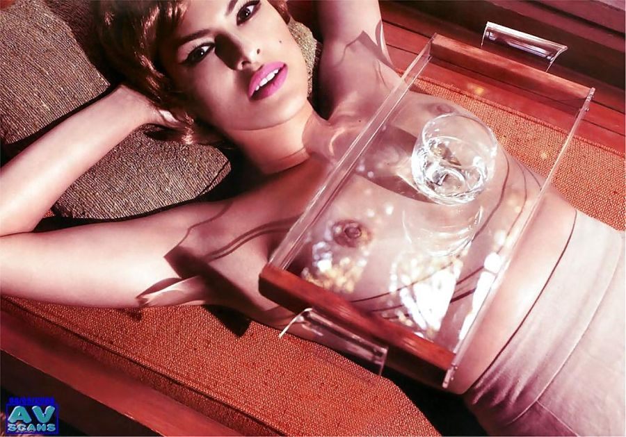 Eva Mendes naked tits in photoshoot