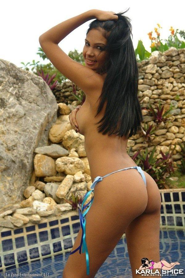 Latina Karla Spice topless bikini poolside