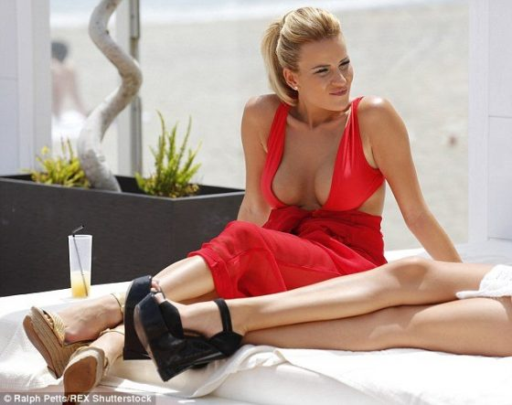 TOWIE blonde star Georgia Kousoulou wearing a sexy red outfit