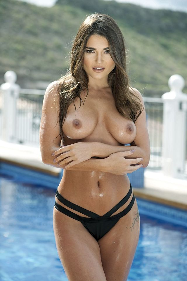 Cute girl India Reynolds topless wet boobs bikini