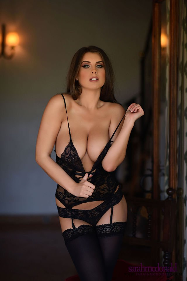 Sarah McDonald busty cleavage lingerie shoot