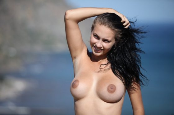 Cute young girl Letitia naked slender body with hot boobs