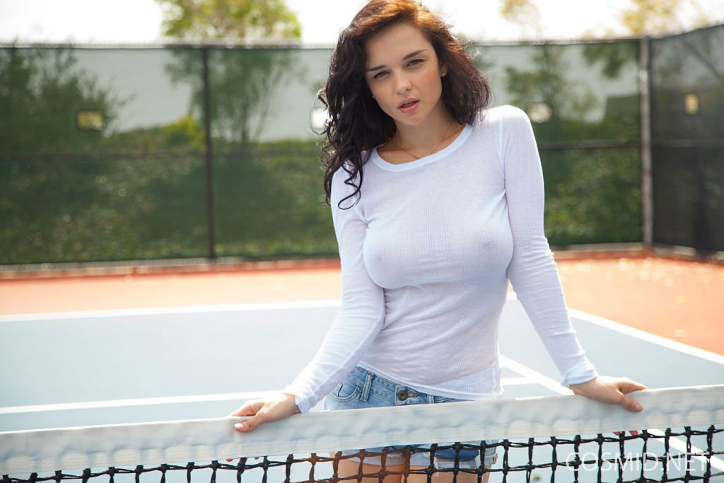 big tits model eugenia braless blouse and jean shorts