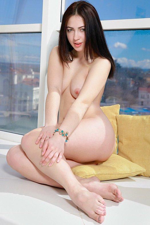 cute young girl Sivilla naked dark-haired perky tits