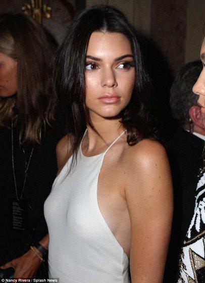 Kendall Jenner super sexy nipple piercing braless dress