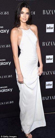 Kendall Jenner glamorous white maxi dress