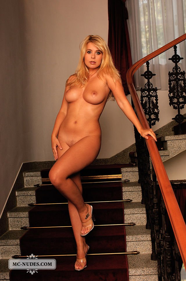 nude woman hot curves on stairs