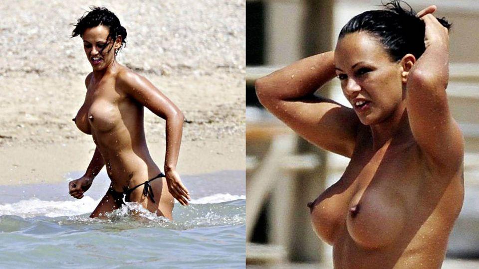 sexy woman topless hard nipples fake boobs