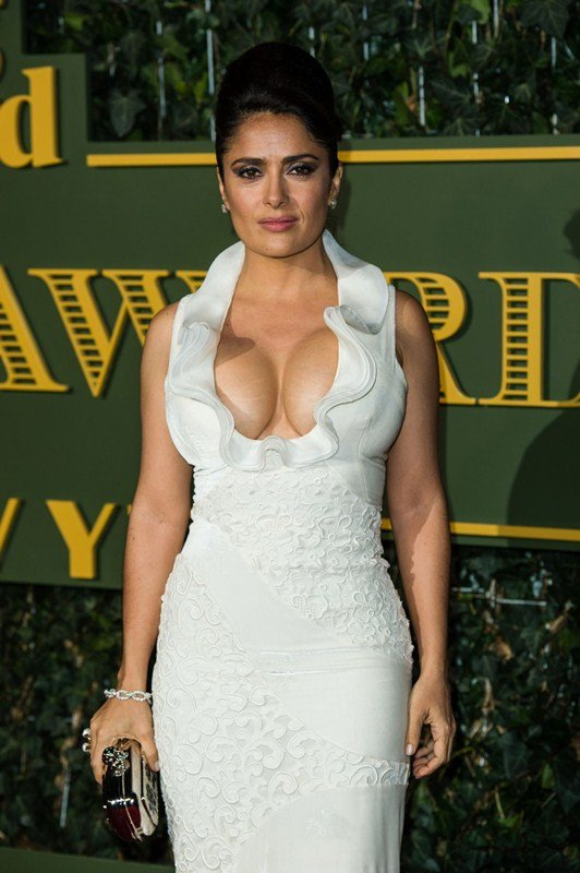 Busty Halma Hayek ample cleavage dress