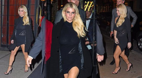 Jessica Simpson's boobs in braless see-through outfit
