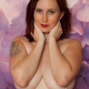 Sensual curvy Mary Helen shows off big natural tits