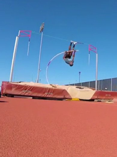 Pole vault can be tricky sometimes (funny gif)