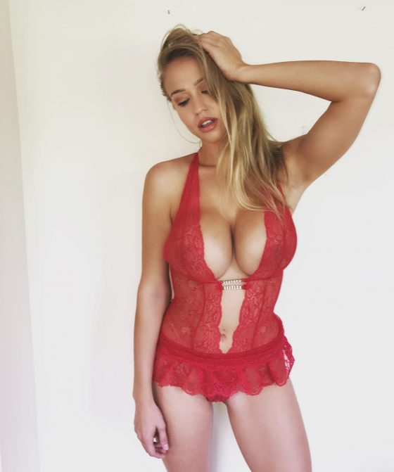 Sophie Reade big cleavage red lingerie
